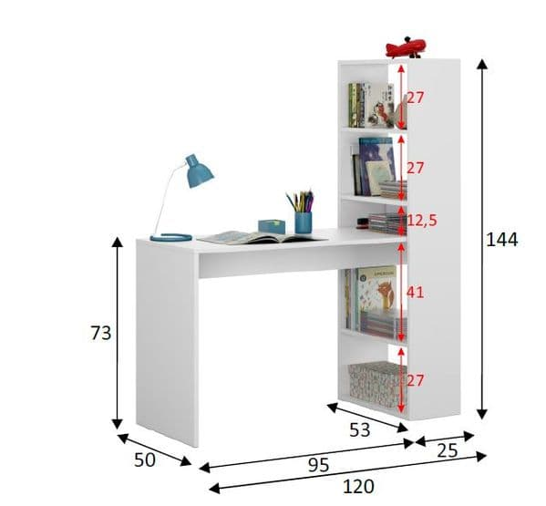 Duplex Floating Desk with Bookshelf in White by furniturefactor.co.uk